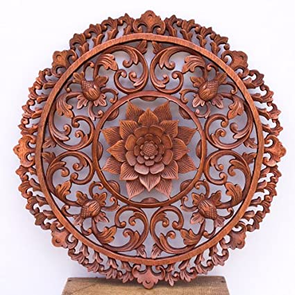 Amazoncom 19 Inches Traditional Bali Lotus Flower Carved Round