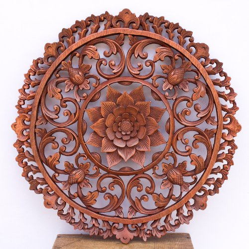 19 Inches Traditional Bali Lotus Flower Carved Round Wooden Wall Panel Architectural by Indonesia