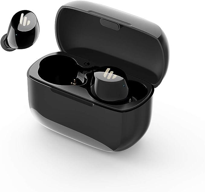 Edifier TWS1 Auriculares True Wireless, hasta 32 Horas de duración de la batería con Estuche de Carga y micrófono, Bluetooth 5.0 aptX, IPX5 a Prueba de Salpicaduras, fácil emparejamiento, Negro