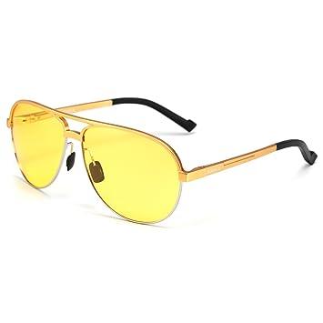 63bb8e93a1 Soxick® Mens HD Metal Polarized Night Driving Glasses Sports Sunglasses  (Gold Frame Yellow Lens-2)
