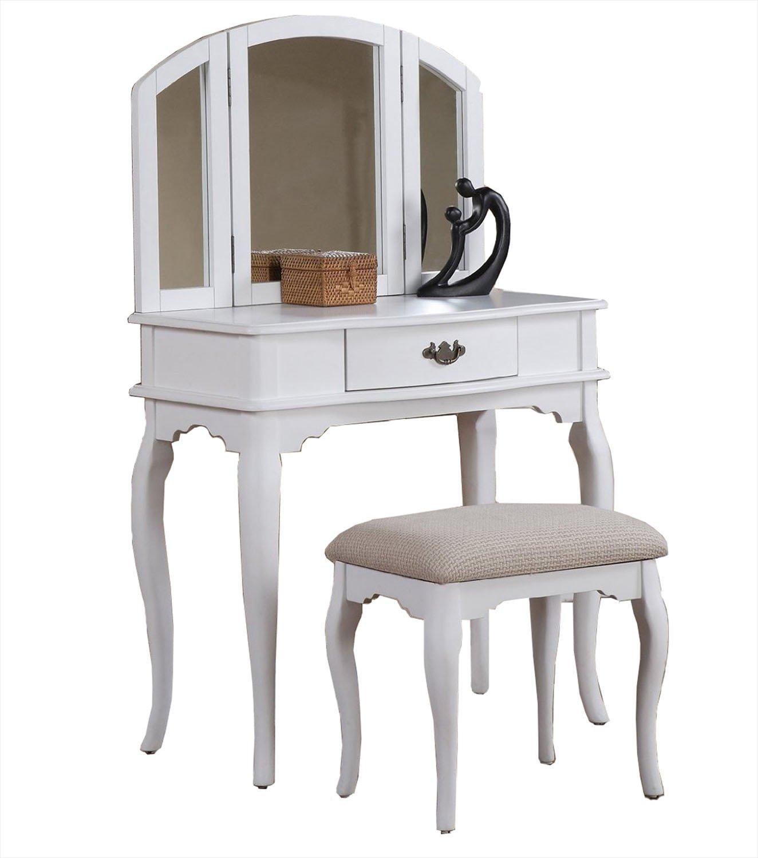 White Bobkona Jaden Collection Vanity Set with Stool, White
