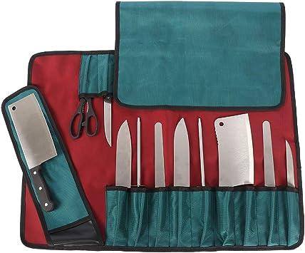 Heavy Duty 12 Slots Chef Knife Roll Bag, estuche de almacenamiento de bolsa de cuchillo para chef profesional o entusiastas culinarios: Amazon.es: Deportes y aire libre