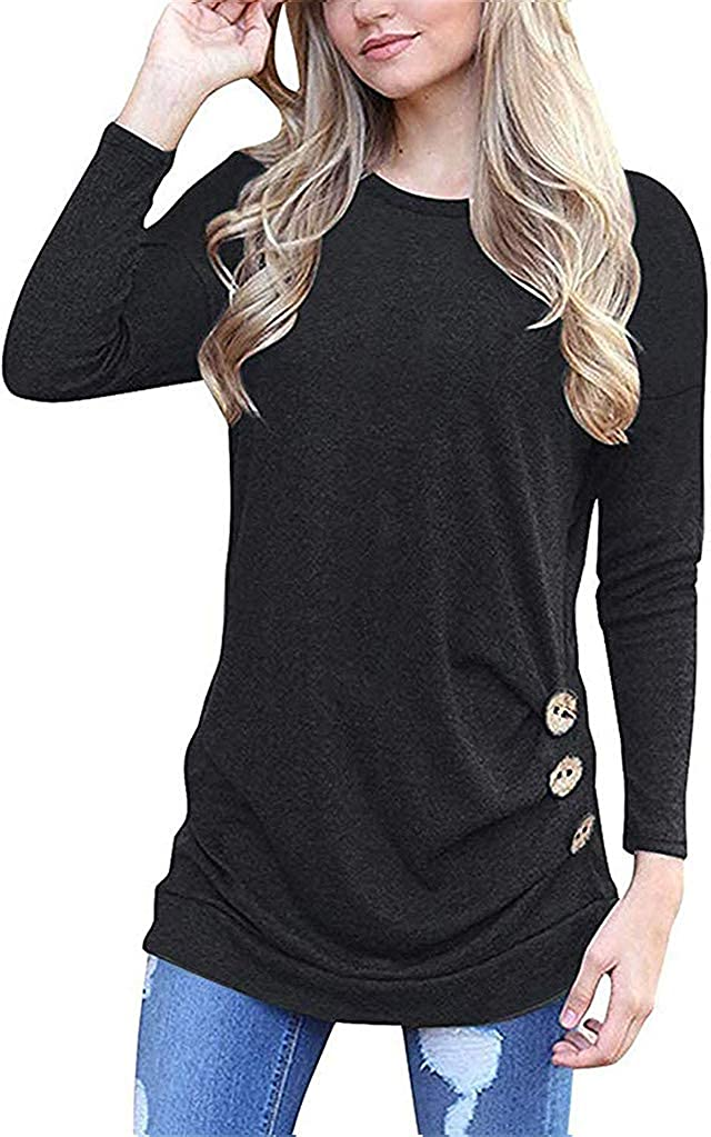 Akihoo Womens Casual Long Sleeve Round Neck Loose Tunic T Shirt Blouse Tops
