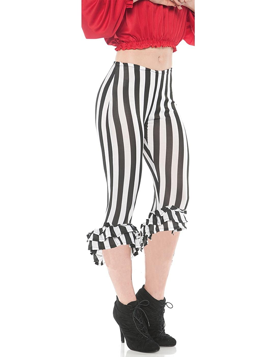 Women's Sexy Pirate Costume Black & White Stripe Ruffle Leggings
