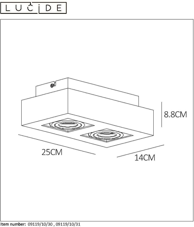 Lucide 09119//10//30 Spot plafond GU10 Aluminium Noir 10 W