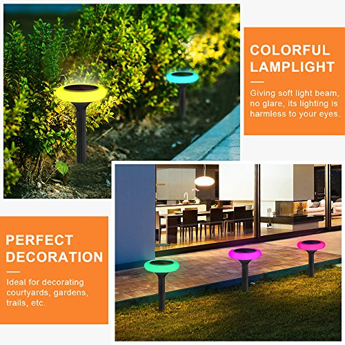 LightMe Outdoor LED Solar Light, 4 PCS Colorful Lighting Sensor Night Lights Waterproof Landscape Floor Lamps for Lawn Patio Garden Yard Driveway Pool Decor by LightMe (Image #4)