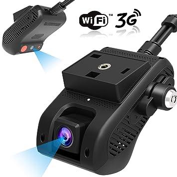 Dash Cam, Lncoon JC200 3G/WiFi Dual Cámara para Coche 1080P HD con GPS, DVR Cámara Loop Grabación/G-Sensor/Corte de energía, Alarma de Vibración/SOS, ...