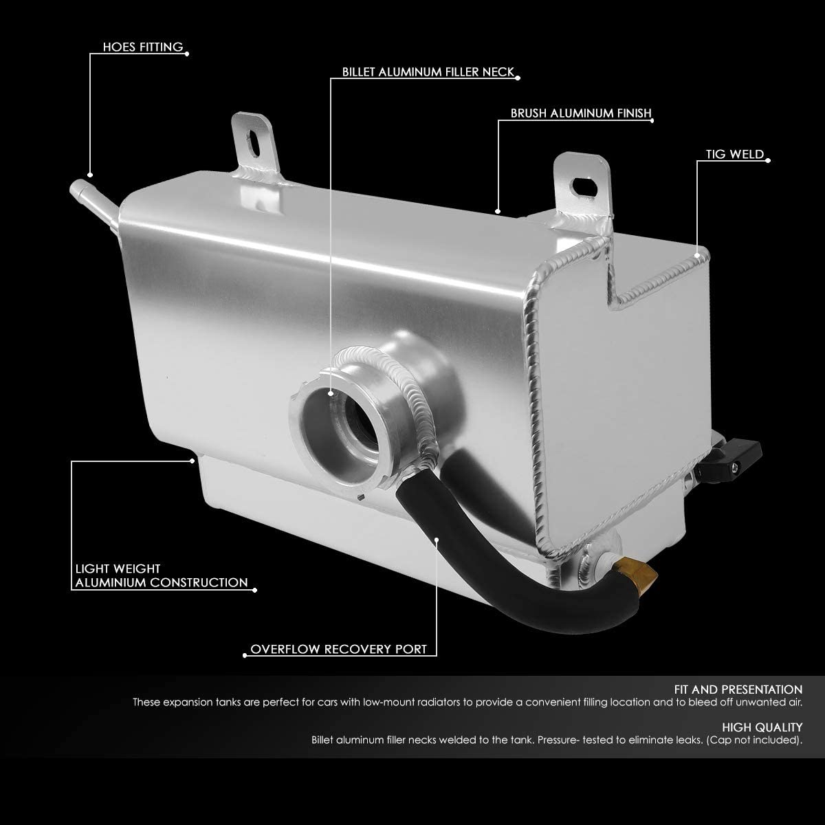 Black Alloy Water Coolant Overflow Tank with Billet Cap for Ford Mustang 2015