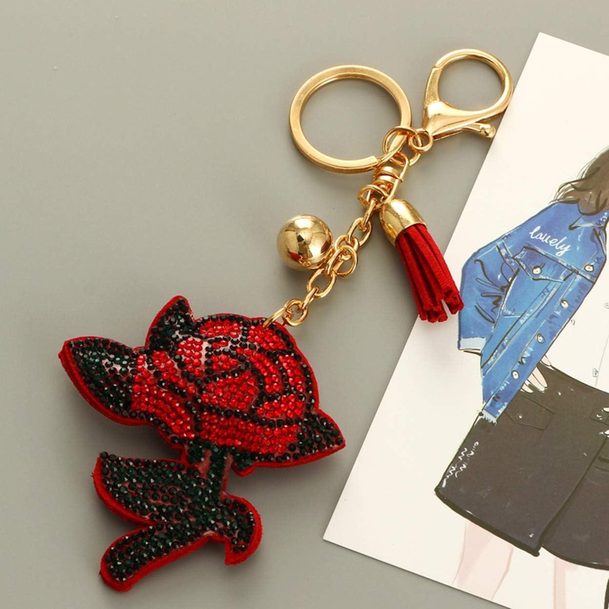 Women Rose Flowers Leather Keychain Keyring Pendant Charm Purse HandBag Key Ring