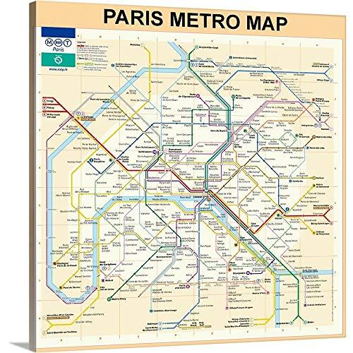 (Bill Cannon Premium Thick-Wrap Canvas Wall Art Print Entitled Paris Metro Map - Peach)