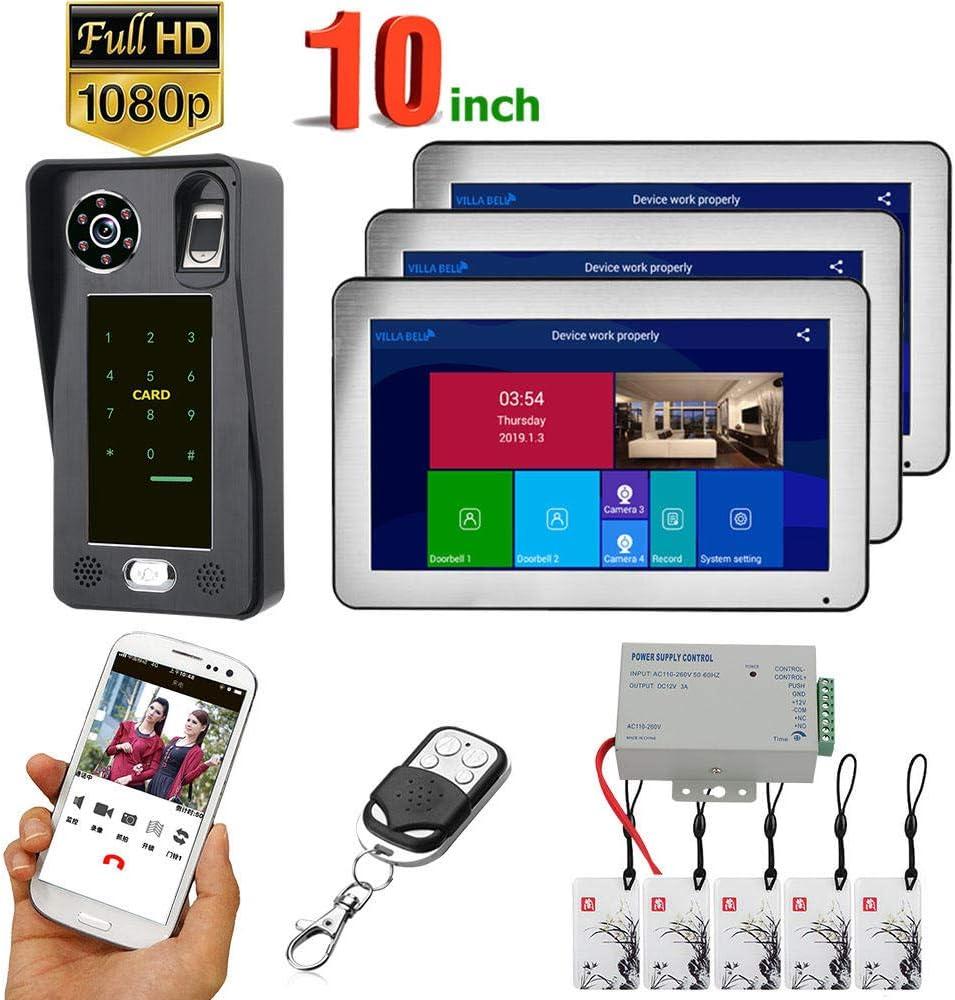 Kit de timbre de video WiFi DYWLQ de 10 pulgadas, sistema de intercomunicación de teléfono inteligente con 1080P, monitor LCD de 3 toques, soporte, tarjetas, desbloqueo de contraseña