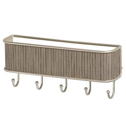 InterDesign Colgador de Llaves para Pared con Organizador de Cartas, Metal, Crema, 26.8x6.3x11.5 cm