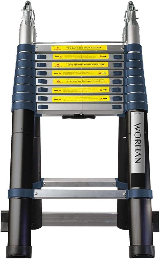 WORHAN® 5.6m Escalera Doble Telescopica Multiuso Multifuncional Plegable Tijera Aluminio Nueva Generación Calidad Alta K5.6: Amazon.es: Bricolaje y herramientas