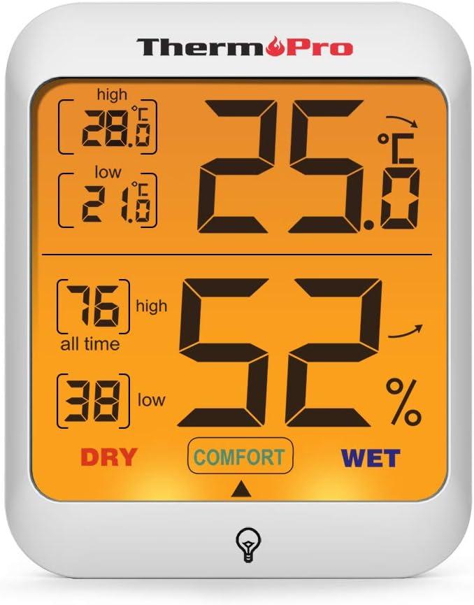 ThermoPro TP53 Termómetro Higrómetro Digital Medidor de Humedad y Temperatura de Interior Termohigrómetro Profesional para Habitación Ambiente con Retroiluminación Táctil