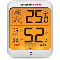 ThermoPro TP53 Termómetro Higrómetro de Interior Medidor de Humedad y Temperatura Digital Termohigrómetro Profesional para Casa Ambiente con Retroiluminación Táctil