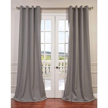 Half Price Drapes FHLCH-VET13194-108GR Pewter Grommet Heavy Faux Linen Curtain, 50  x 108 , Grey