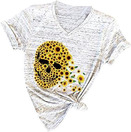 YUTING Blusa Suelta De Mujer Manga Corta Camiseta con Estampado Cabeza Calavera Estilo de Girasol Tops Casuales Camisa del V-Cuello Top De La Moda Mujer De Camiseta Tops Mujer Verano: Amazon.es: Ropa