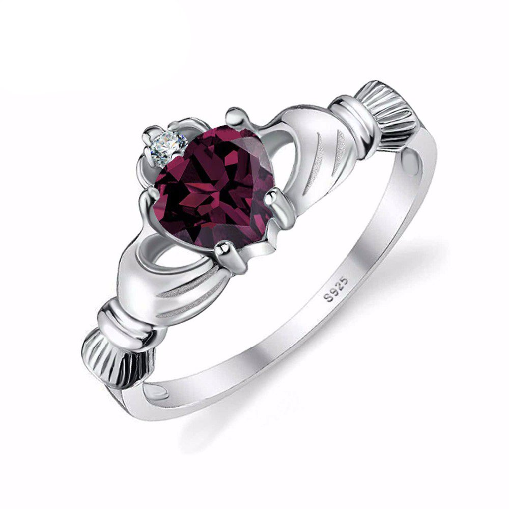 GOMORINGS Rings Alexandrite Sapphire Irish Claddagh Solid 925 Sterling Silver Friendship Love Heart Jewelry June Birthstone GOMO_RINGS X1KH92L15
