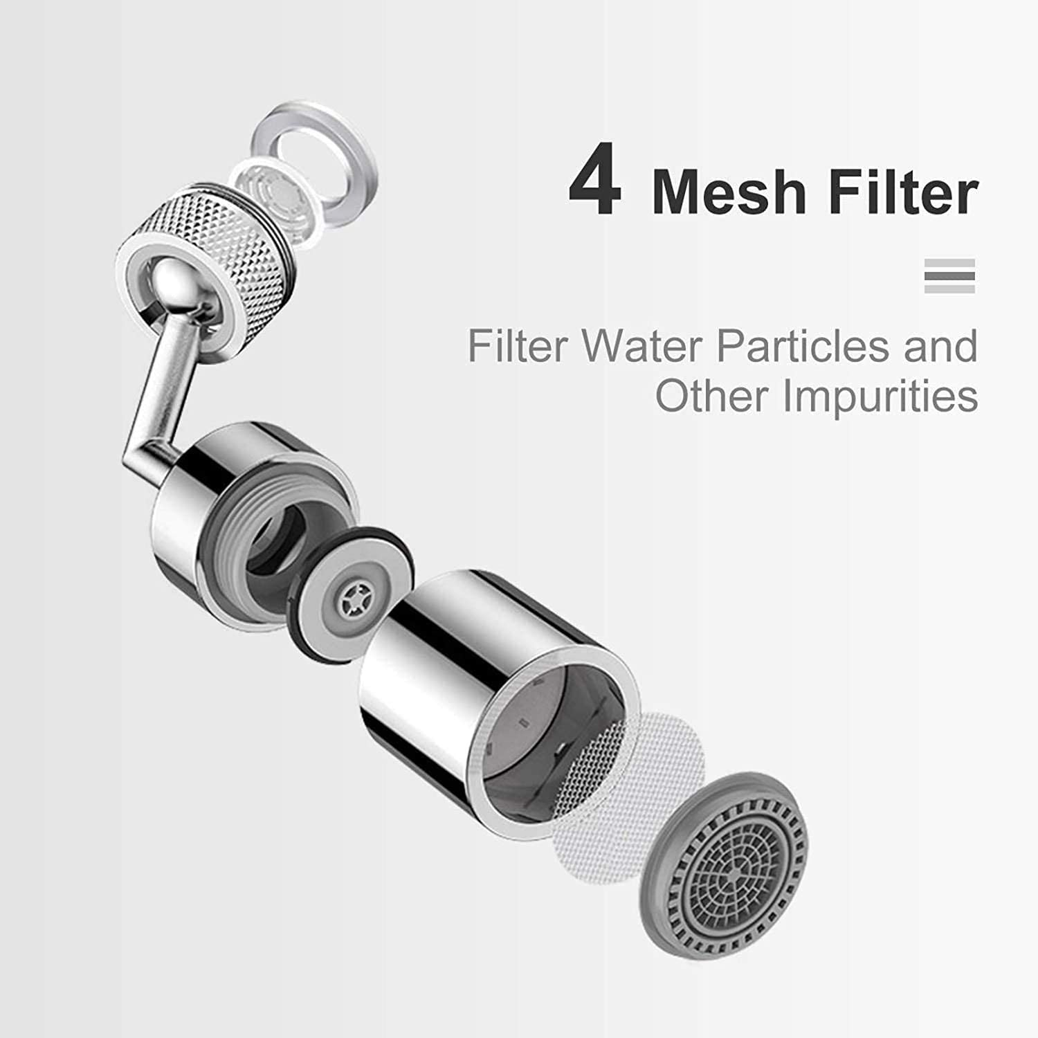 4-Layer Net Filter Anti-Splash Leakproof Design with Double Home kitchen bathroom accessories Universal Splash Filter Faucet,720/° Rotatable Faucet Sprayer Head