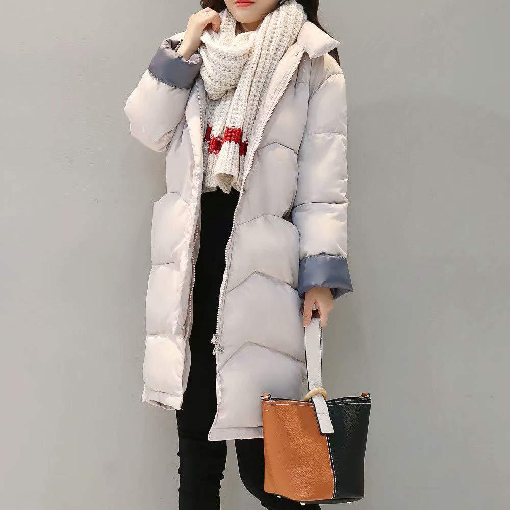 Kulywon Women Winter Warm Coat Stand Neck Thick Warm Slim Long Jacket Overcoat