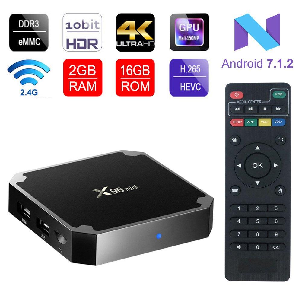 ESHOWEE X96MINI Android 7.1 TV Box Am Logic S905W Quad-Core 64 Bit DDR3 2GB/16GB 4K UHD Wi-Fi and LAN VP9 DLNA H.265