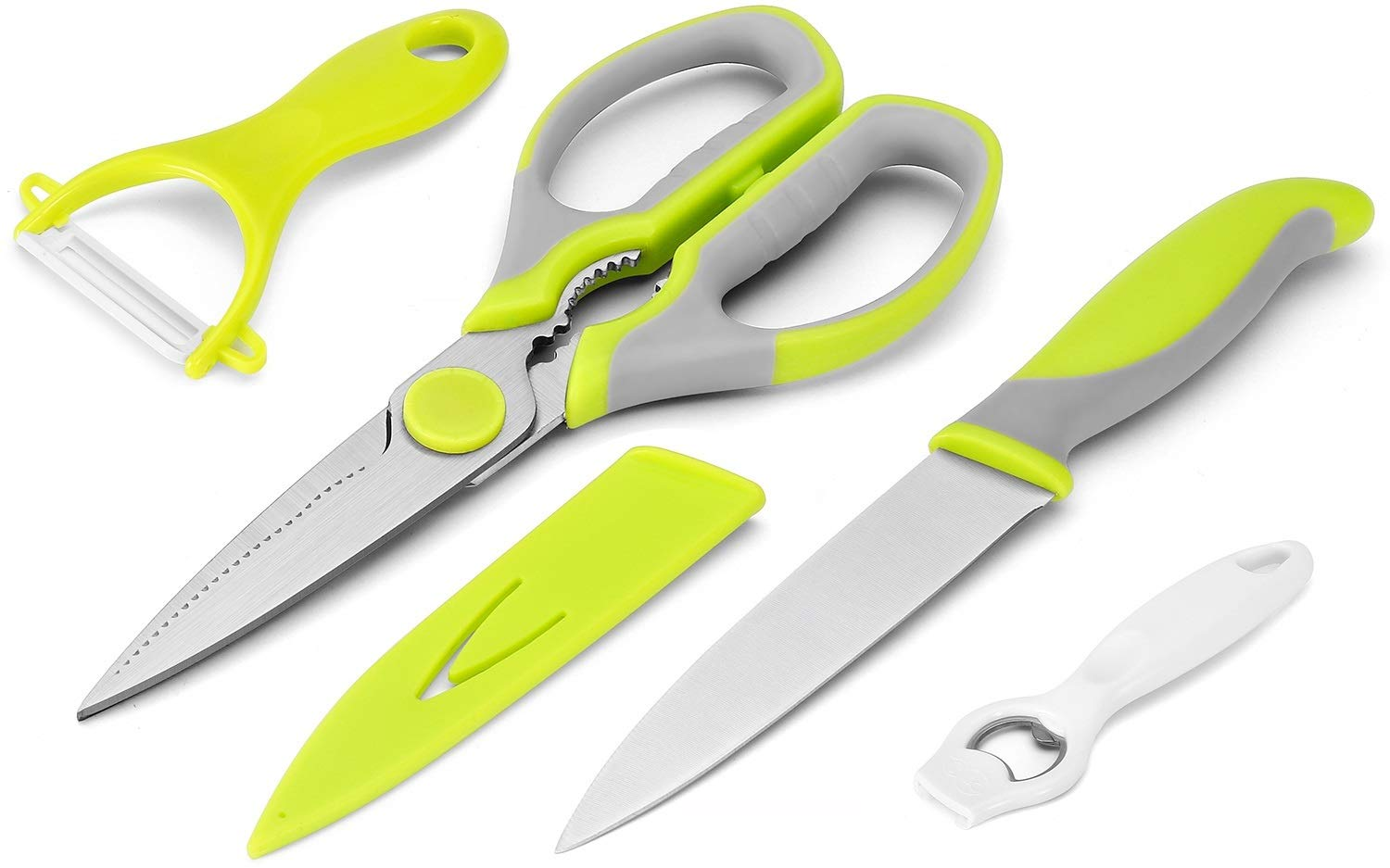 Kitchen Scissors 4 Pieces Set WELLSTAR, Heavy Duty Multi-Purpose Food Shears, Ultra Sharp Utility Knife with Safety Blade Cover, Ceramic Peeler and Bottle Opener, Small Kitchen tools Set of 4 by WELLSTAR
