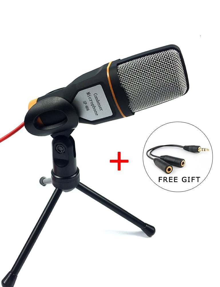 SunJet Condenser Microphone with Tripod Stand for PC Laptop Computers Sound Studio Podcast Recording , Perfect for Chatting Skype MSN