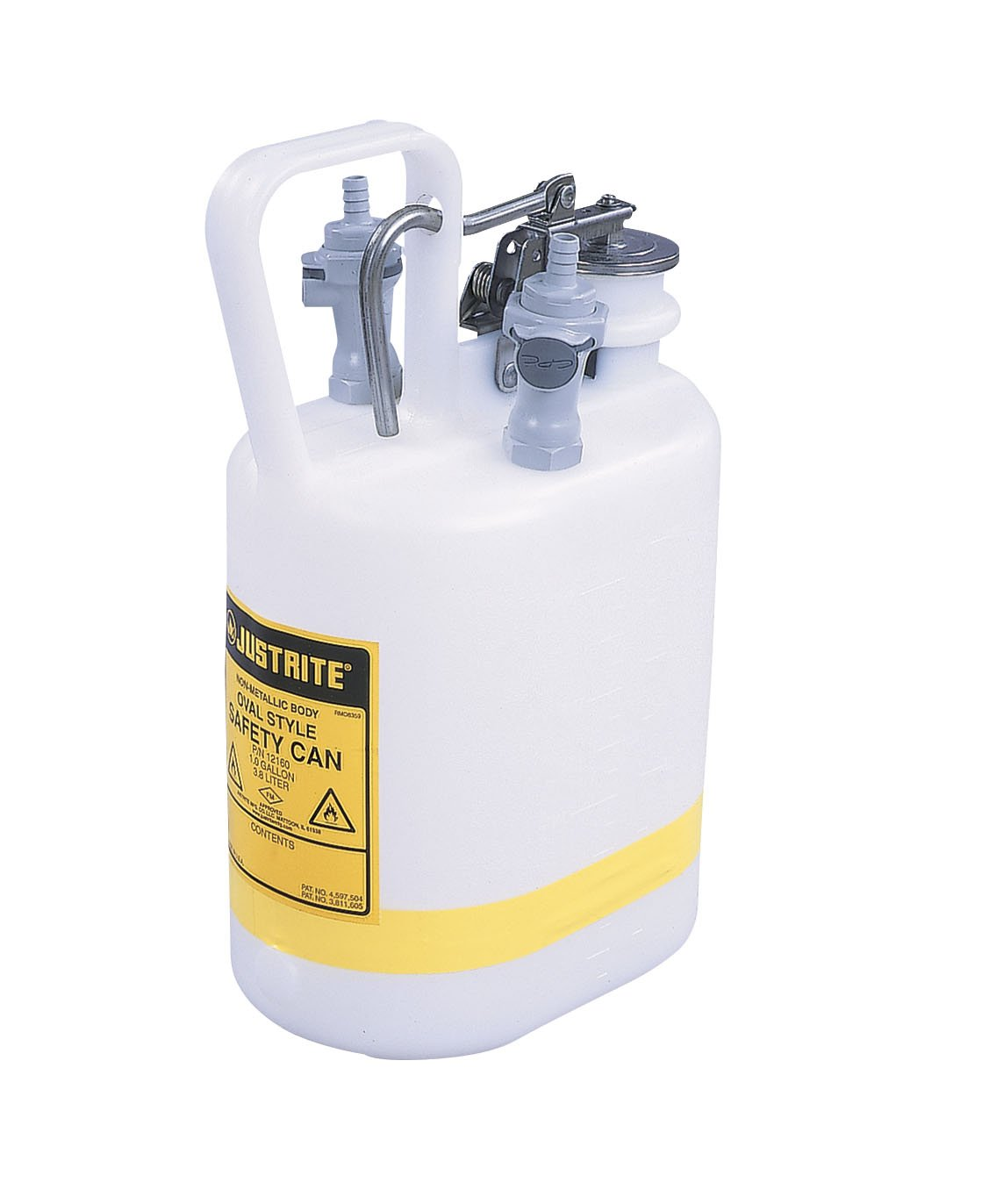 Justrite 12160 1 Gallon, 3/8'' Tubing, 5 1/4'' x 12 3/4'' Size NM HPLC Prefabricated Quick-Disconnect Oval Safety Disposal Cans With 2 Polypropylene Fittings