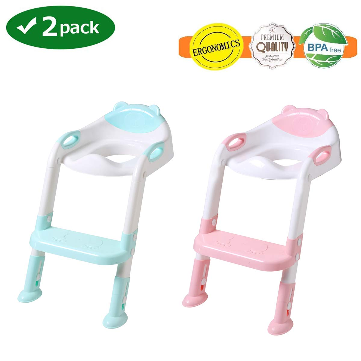 Potty Training Seat with Step Stool Ladder,SKYROKU Potty Training Toilet for Kids Boys Girls Toddlers-Comfortable Safe Potty Seat with Anti-Slip Pads Ladder (2 Pack)
