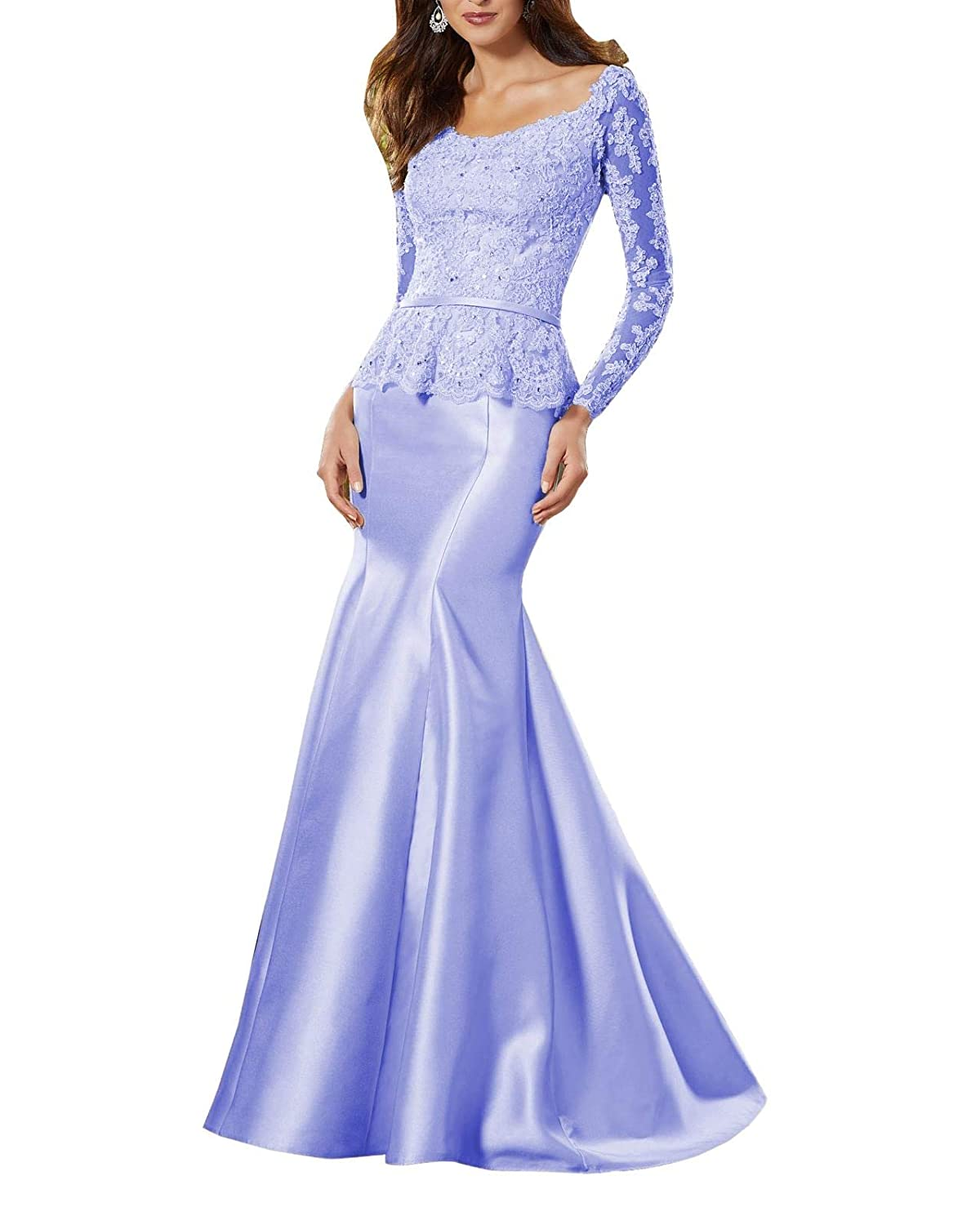 Mediumpurple Wanshaqin Women's Heavy Beaded Lace Formal Evening Gown Stunning Silk Party Dress with Empire Waist