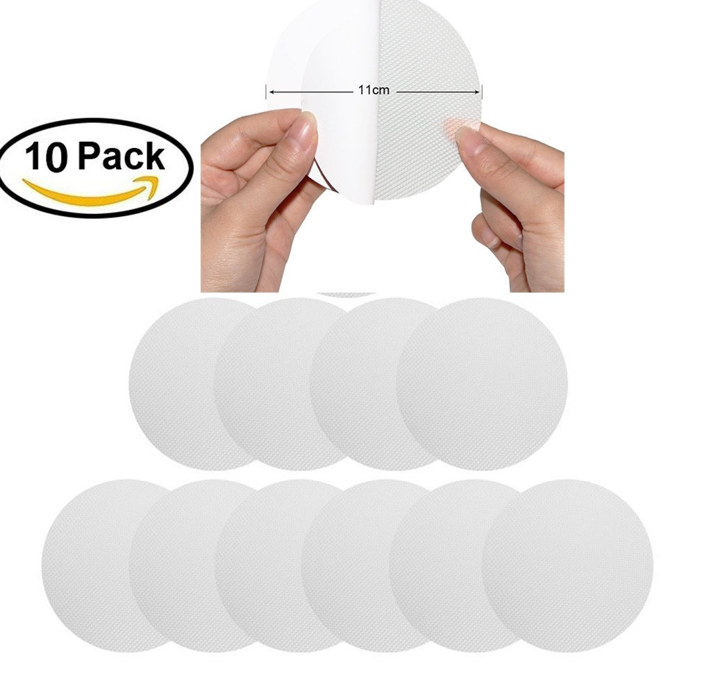 Transparent Anti-Slip Stickers,Doshop 10 Big Transparent Anti-Slip Stickers for the Bath and Shower,Non-abrasive Textured Discs for a Better Grip, Discrete and Elegant Self-Adhesive Circles with 1.6 in (4cm) Diameter for Safety