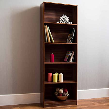 Vida Designs Cambridge 5 Tier Extra Large Bookcase Walnut Wooden Shelving Display Storage Unit Office Living Room Furniture Amazon Co Uk Kitchen Home