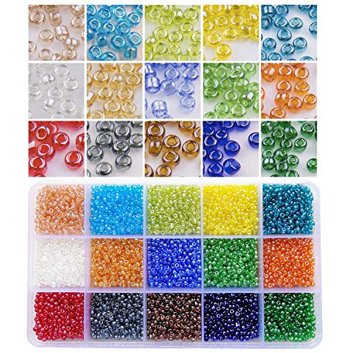 BALABEAD 7500pcs in Box 15 Colors Assortment (8/0) 3mm Glass Seed Beads Transparent Lustered Loose Spacer Seed Beads (500pcs/Color, 15 ()