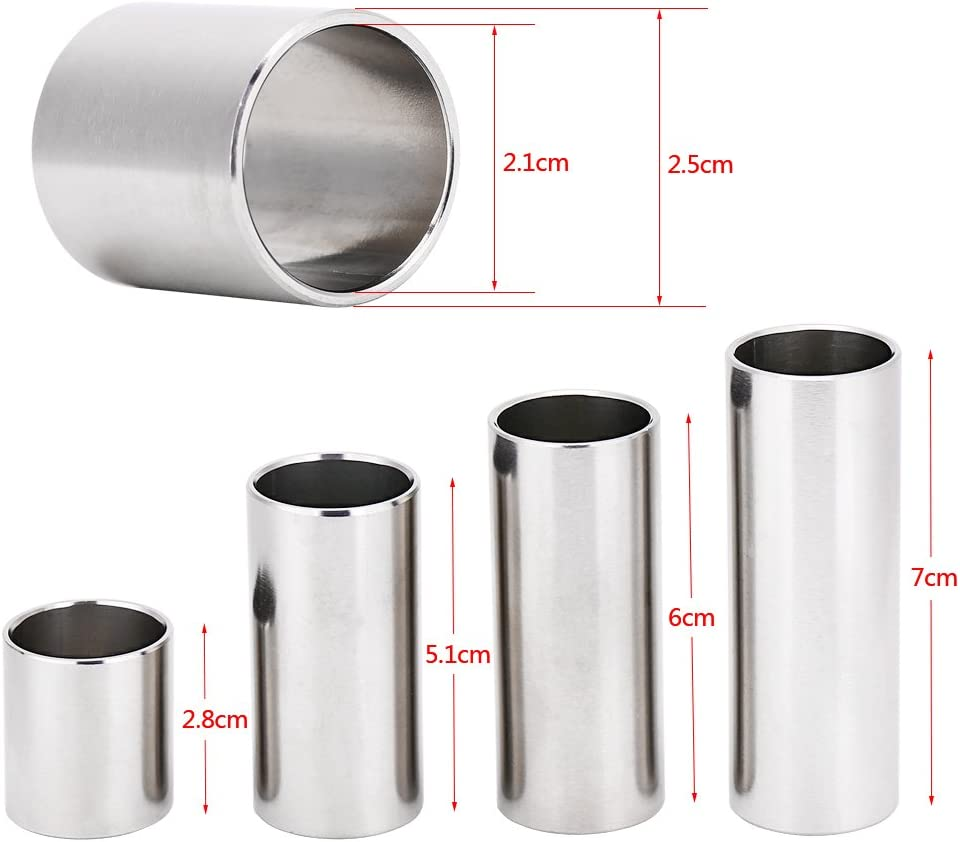 4Pcs Guitar Slides Stainless Steel Cylinder Tube Electric Guitar Slide Tone Bar Accessory