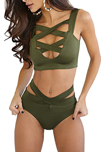 Prograce Women's Sexy Criss Cross High Waisted Bandage 2PCS Bikini Set, S Army Green