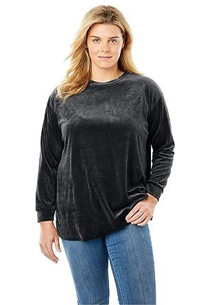 80425fdb840 Woman Within Plus Size Plush Velour Tunic Sweatshirt at Amazon ...