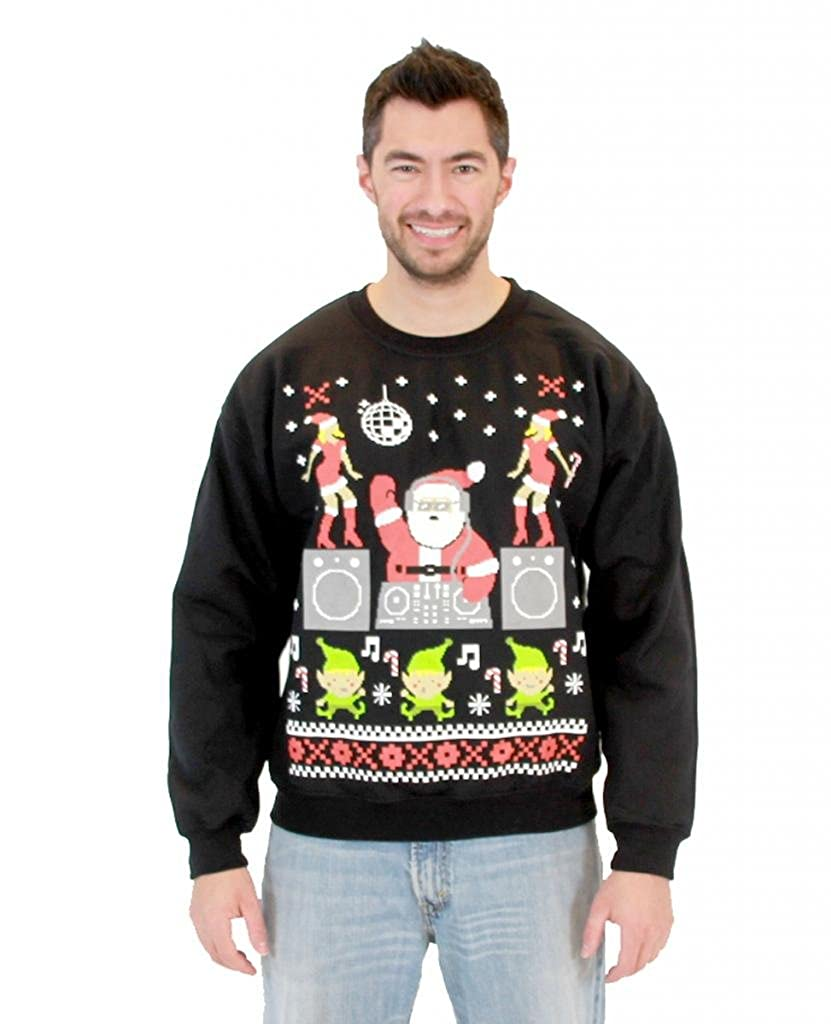 DJ Santa Adult Black Ugly Christmas Sweatshirt