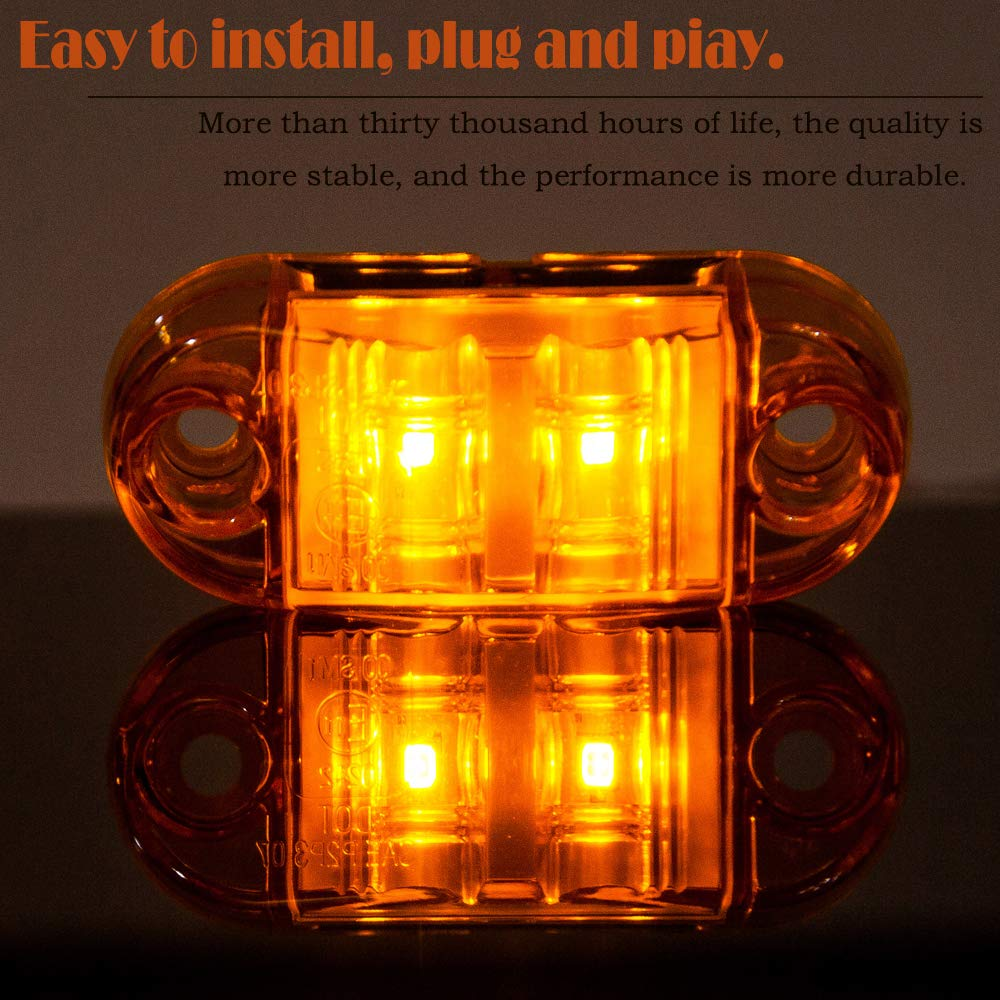 WildAuto Side Marker LED Lights for Trucks,12V 24V Amber 2.5inch Trailer Lights for Van Caravan Lorry Car Bus