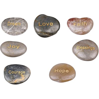 Holy Land Market 7 Polished River Stones Engraved with Inspirational Words in Gold : Garden & Outdoor