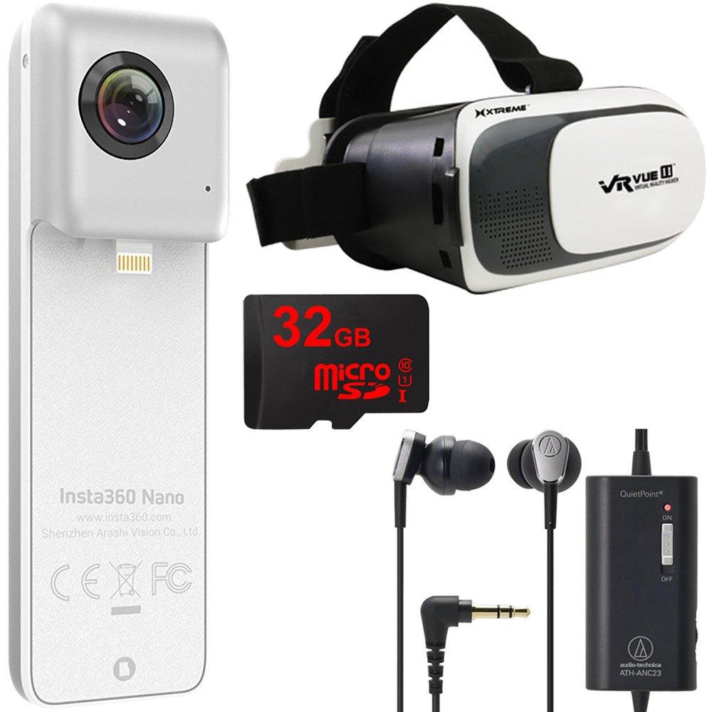 Insta360 Nano VR Camera iPhone 6 + 7 w/ VR Viewer, 32GB MicroSD, QuickPoint Headphones