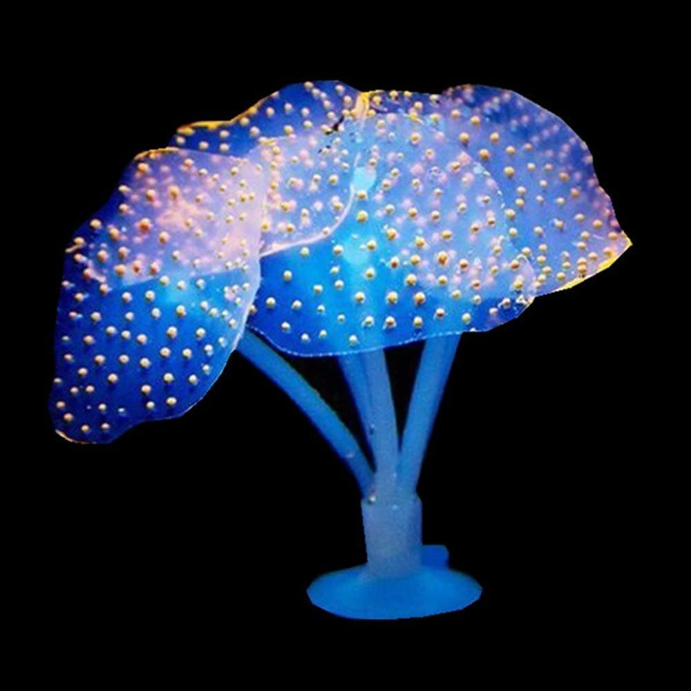 SunKni 6 Pack Glowing Effect Silicone Artificial Coral Decorations for Aquarium Fish Tank Fish Bowl Small Ornaments
