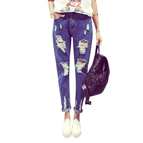 DianShao Pantalones Anchos Jeans Mujer Tejanos Boyfriend ...