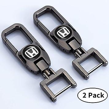Goshion 2Pack Genuine Leather Car Logo Keychain for Honda Key Chain Accessories Keyring with Logo