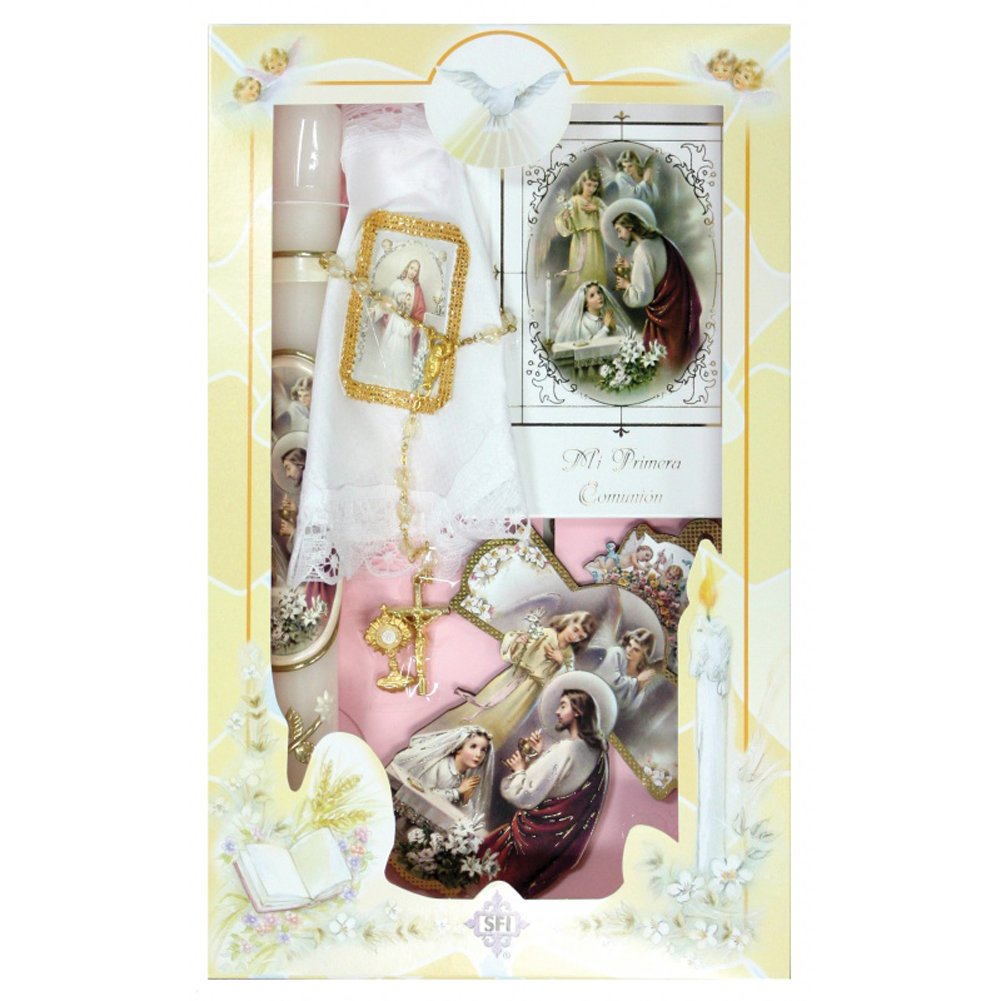 New Girls First Holy Communion Complete Candle Gift 6 Pc Set Cross Keepsake in English Rosary Boxed