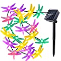 LUCKLED Dragonfly Solar String Lights, 16ft 20 LED Christmas Fairy Lights for Indoor and Outdoor, Home, Lawn, Garden, Patio, Party, and Holiday Decorations (Multi-Color)