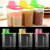 Angel Bear Cereal Rice Pasta Grains Dispenser Jar Container Storage Box Lid Kitchen Set of 3, Multicolor, 1900ml