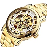 ALPS Men's Luxury Skeleton Self-Wind Automatic Stainless Steel Watch Gold Wristwatch