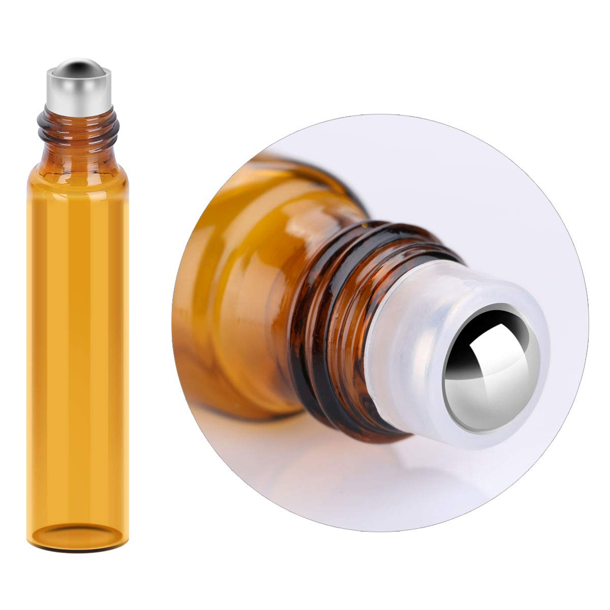 24 Pack 3 Size Amber Glass Essential Oil Roller Bottles with Stainless Steel Balls to Roll on for Perfume Skin Emulsion Droppers Funnels Labels and Opener as Gifts by Tbestmax (Image #2)