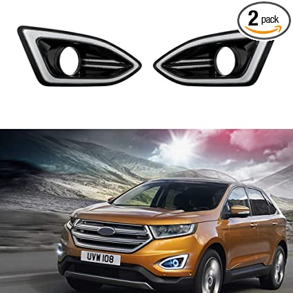 Amazon Com Motorfansclub Led Drl Fog Lights Daytime Running Lamp For Ford Edge   Automotive