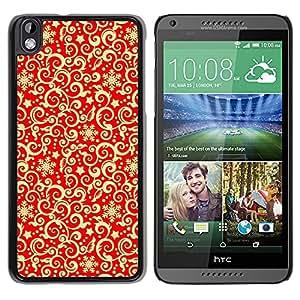 Print Motif Coque de protection Case Cover // V00002708 el oro rojo de la Navidad // HTC Desire 816
